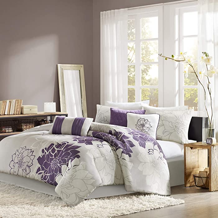 Madison Park Lola Queen Size Bag, Floral, Flowers – 7 Pieces Bedding Sets Sateen, Cotton Poly Crossweave Bedroom Comforters, Grey/Purple