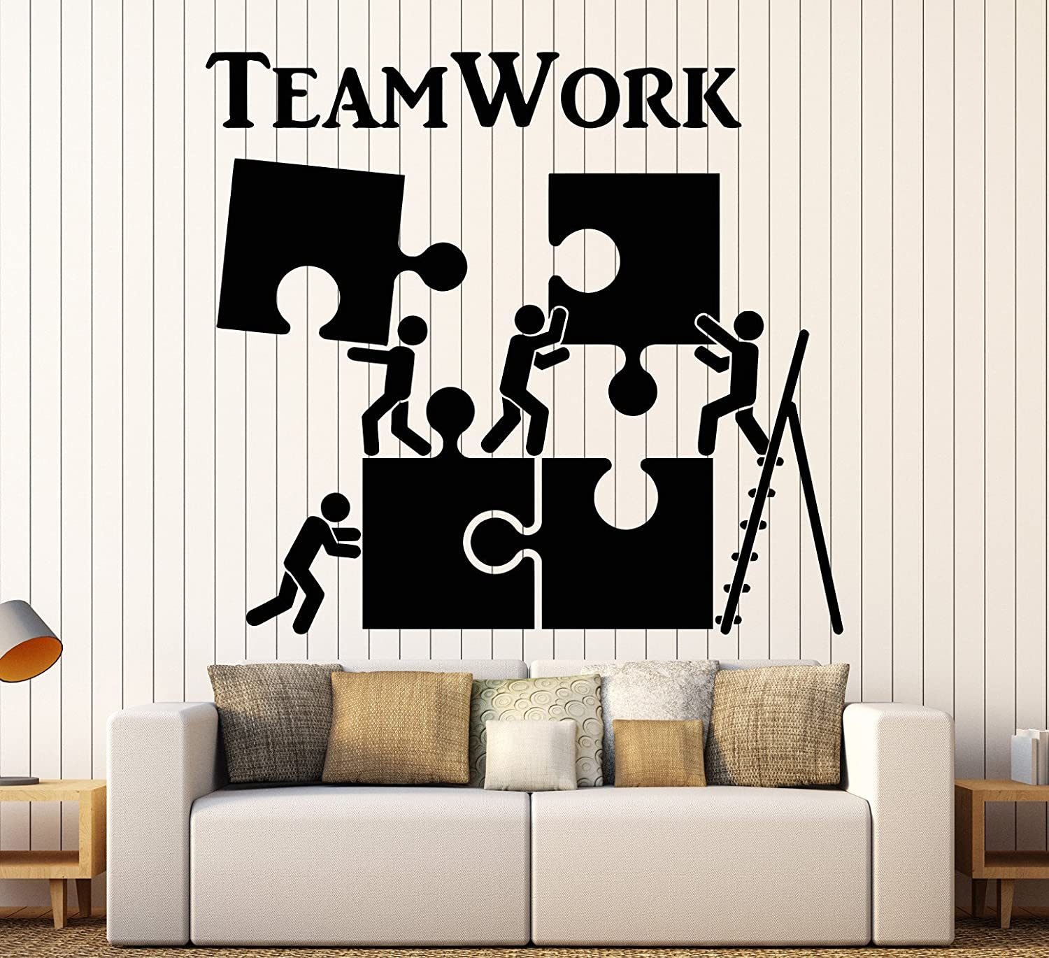 Vinyl Wall Decal Teamwork Motivation Decor for Office Worker Puzzle Stickers Large Decor (1226ig) Matte Black