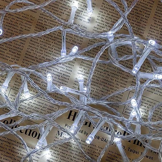 Cadena de Luces WISD 102.8M 1000 LED Blanco Guirnalda de Luz Impermeable con 8 Modos y Función de Memoria, Cable de Color Transparente, Perfecto para ...