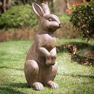 Glitzhome JK85246 Rabbit Garden Statue Outdoor Sculpture Lawn Decor, Standing