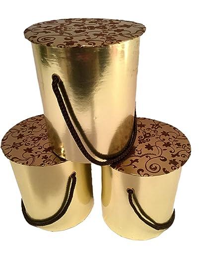 Amazon Com Metallic Gold Round Gift Boxes With Decorative Lids Set