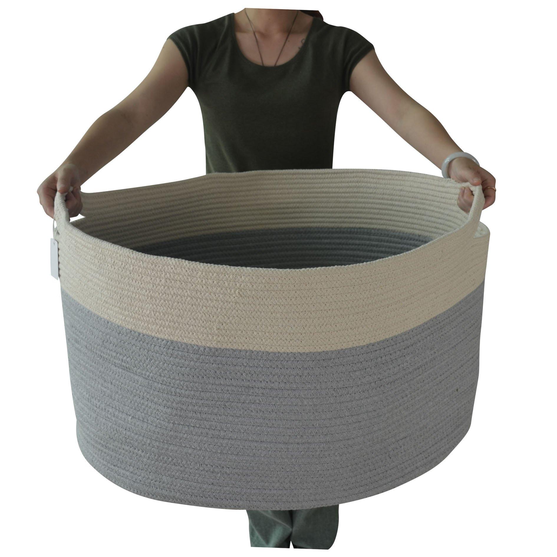 Iceblue 23.6''X17.7''X13.8'' XXXL Jumbo Toy Storage Cotton Rope Basket Hamper with Build-in Handles