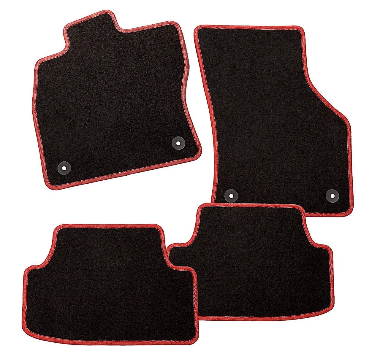 4 teiliges Auto Fussmatten Set mit Mattenhalter CarFashion 227342 ExquiPlus Schwarze  Hochglanz Kettelung Passform Auto Fussmatten Fussmatte Velours in schwarz anthrazit