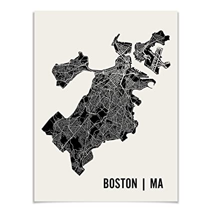 Amazon Com Boston Map Art Print Poster By Mr City Printing Posters
