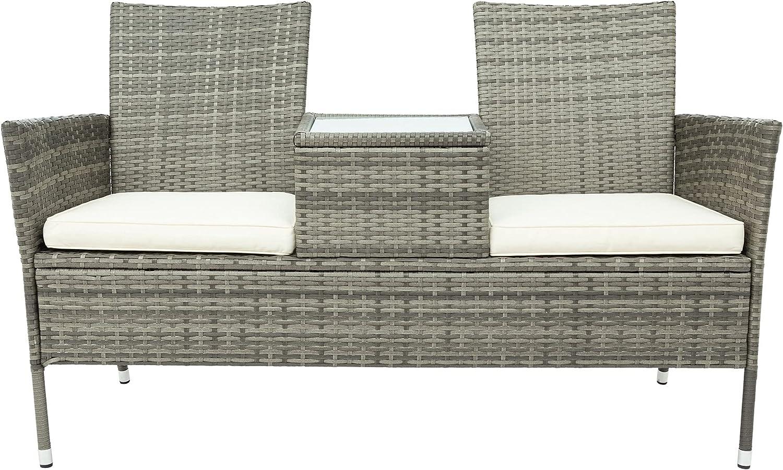 Moimhear Juego de muebles de jardín de polirratán con mesa de 2 plazas, diseño de ratán (gris)