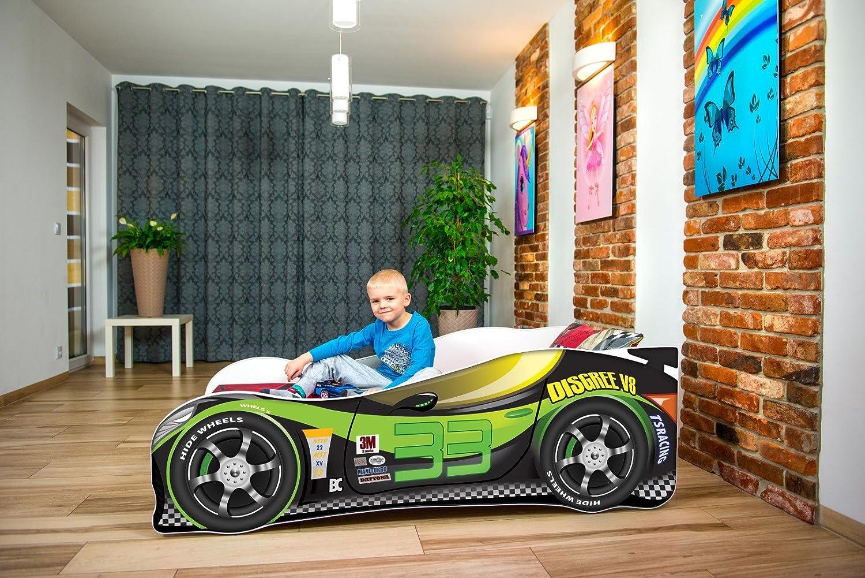 , PINK GIRL THINGS Cama infantil coche de carreras + colch/ón de espuma con cubierta 140 x 70 cm somier 3-5 a/ños barandas