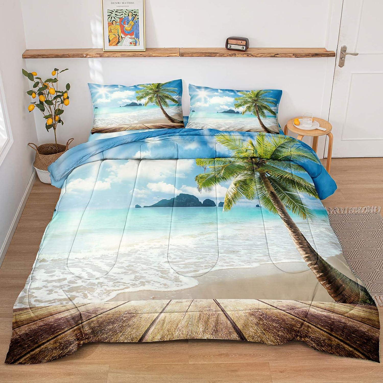 Beach Comforter Set Ocean Bedding Set Sunny Beach Tropical Palm Tree Hawaii Ocean Themed Duvet Sets Twin (66x90) for Boys Girls 1 Comforter 1 Pillowcase (Beach, Twin)