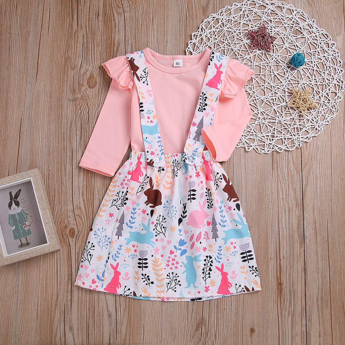 Toddler Baby Girl Easter Clothes Skirt Set Ruffle Sleeves Top Rabbit Print Floral Suspender Skirt Tutu Dress Outfits