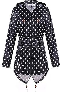 Meaneor Womens Waterproof Raincoat Outdoor Hooded Rain Jacket