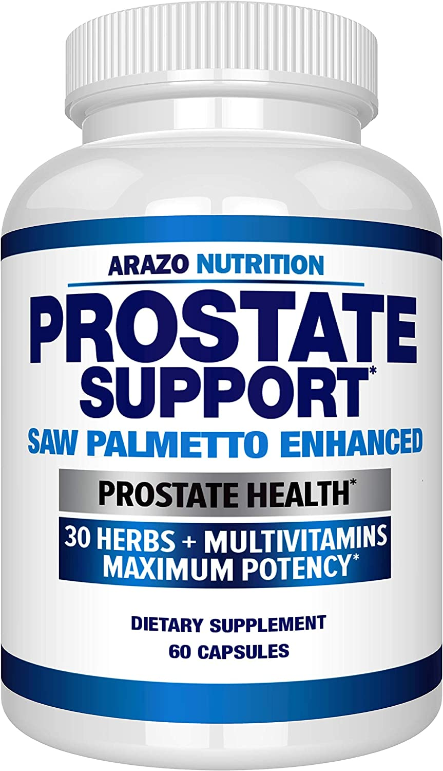 Prostate Supplement - Saw Palmetto + 30 Herbs - Reduce Frequent Urination, Remedy Hair Loss, Stamina – Single Homeopathic Herbal Extract Health Supplements - Capsule or Pill - Arazo Nutrition: Health & Personal Care