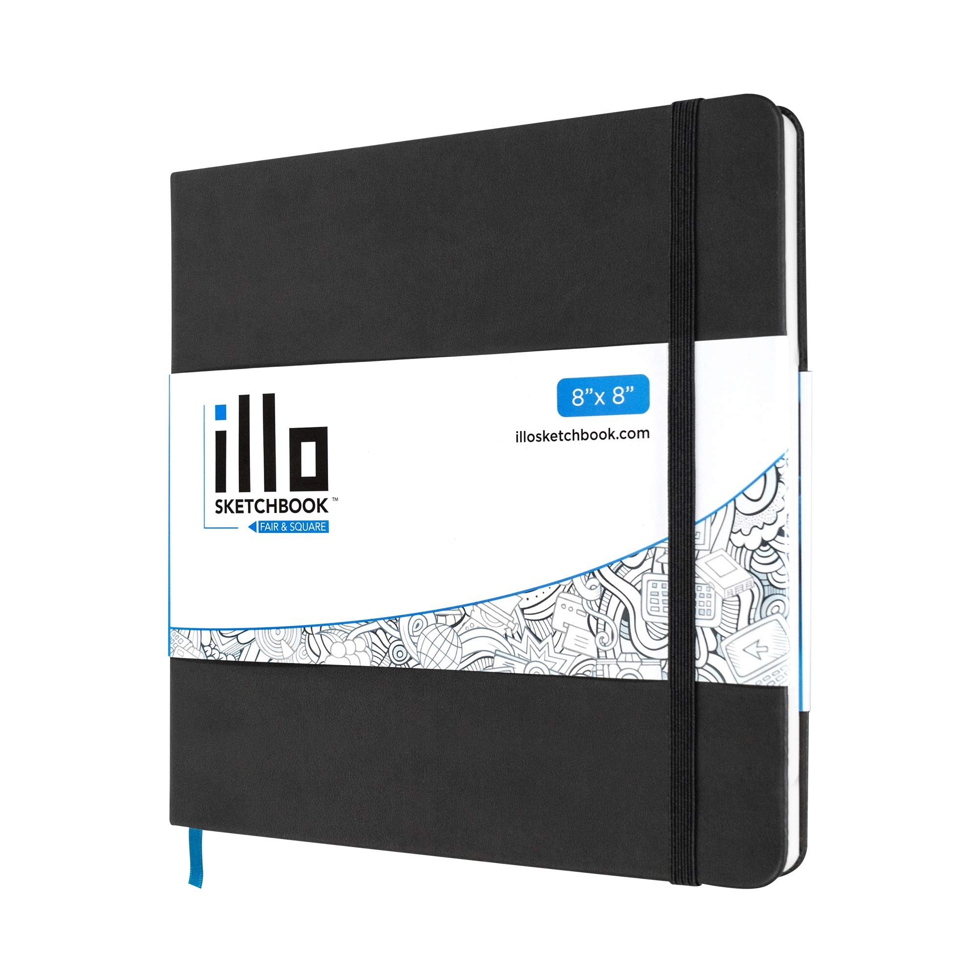 illo Sketchbook, Large, Square, Sketch Book, (8x8), Premium, 122lb Paper, Hardcover Notebook, Lay Flat, Smooth Paper, Thick Paper, Elastic Enclosure and Ribbon Marker by ILLO SKETCHBOOK FAIR & SQUARE