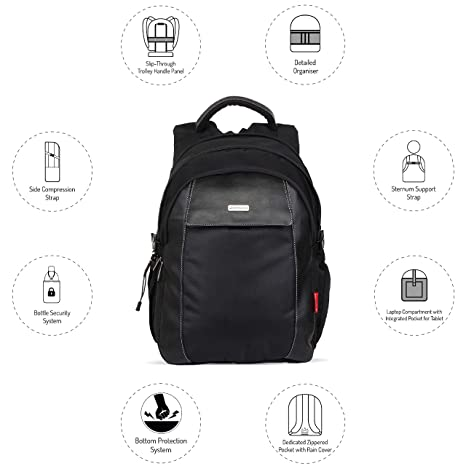 370e1f9081 Harissons Rebel Black Polyester Laptop Backpack  Amazon.in  Bags ...