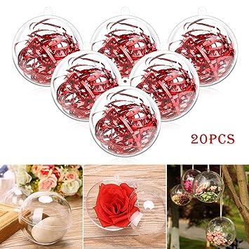 Philonext Clear Ornaments Balls 20pcs Clear Christmas Decorations Balls Diy Plastic Fillable Christmas Decorations Tree Balls Gifts For New Years