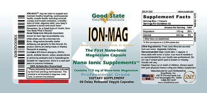 Good State - mg de magnesio iónico 115 ion-Mag. - 60 cápsulas vegetarianas: Amazon.es: Salud y cuidado personal