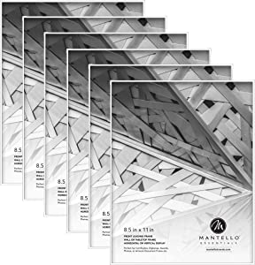 Mantello 8.5x11 Front Loading Picture Frames - White Frame Set for Tabletop or Wall Decor, 6 Pack - Large Holder for Photos, Certificate, Document, Diploma, Award with Polished Edge Glass
