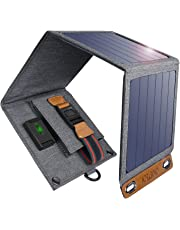 CHOETECH Solar Charger, 14W Portable Solar Panel Lightweight Outdoor Solar Charger Compatible with All Mobile Phones, Pad, Camera, Tablet, Bluetooth Speaker, Power Bank and etc.