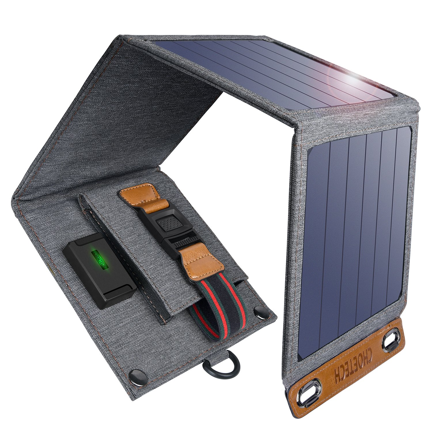 CHOETECH Solar Charger, 14W Solar Panel Phone Charger Waterproof Foldable Camping Charger Compatible iPhone Xs Max/XS/X/8, Galaxy S10/S10+, Other Smartphones, iPad, Camera, Bluetooth Speaker and More by CHOETECH