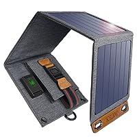 CHOETECH Caricatore Solare, 14W Caricabatterie Solare Portatile Pieghevole, Impermeabile per tutti i Telefoni, iPad, Fotocamera, Tablet, altoparlanti Bluetooth