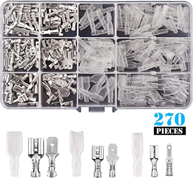 Kinstecks 270PCS 2.8mm 4.8mm 6.3mm Wire Spade Connector Male and Female Quick Splice Wire Crimp Terminal Block with Insulating Sleeve Assortment Kit for DIY Electrical Motorcycle Vehicle Boat