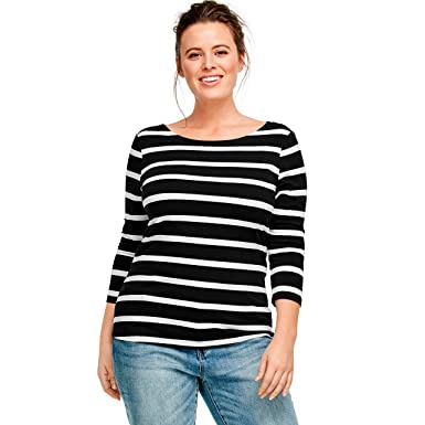 58b917e6f Ellos Women's Plus Size Striped Boatneck Tee - Black White Stripe, ...