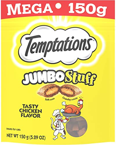 TEMPTATIONS Jumbo Stuff Crunchy and Soft Cat Treats, 5.3 oz.