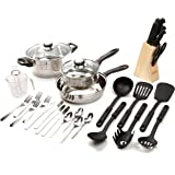 Gibson Lybra Cookware Combo Set, 32-Piece, Mirror Polished Stainless Steel
