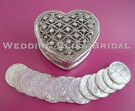 Conmemorativa Plata Brillantes y caja de Arras de boda de corazón Unity monedas Arras de boda