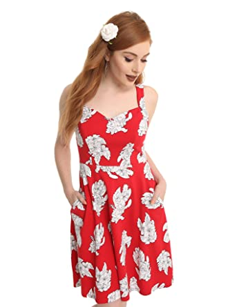fffaf15745 Lilo   Stitch Disney Lilo Dress Red White Floral Hawaiian Fit   Flare Style  (XS