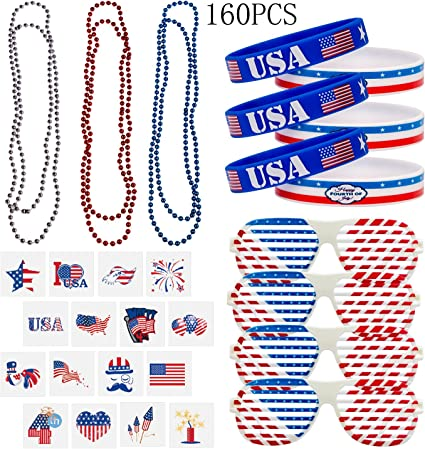 12 PCS Patriotic Star Bead Necklaces Uncle Sam Hat Fourth//4th of July Party Favors Supplies Decorations Independence day necklace decoration