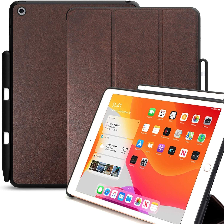 KHOMO Cover iPad 10.2 Custodia Nera con Smart Cover pi/ú Back Cover Ultra Sottile e Leggera Fibra di Carbonio iPad 7, 2019