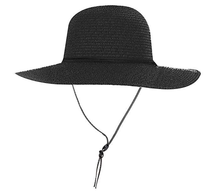 6e657298 Simplicity Women's UPF 50+ Wide Brim Braided Straw Sun Hat with Lanyard  Black