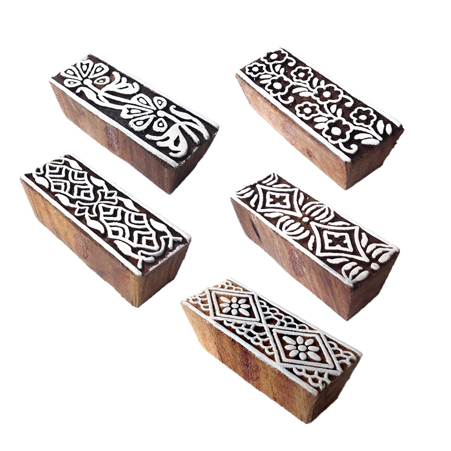 Set of 5 Stylish Designs Floral and Border Wood Print Stamps