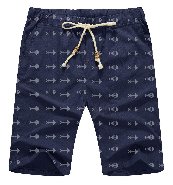 Men's Casual Shorts Classic Fit Linen Summer Beach Short for Men (1 Navy, 37''-39'')