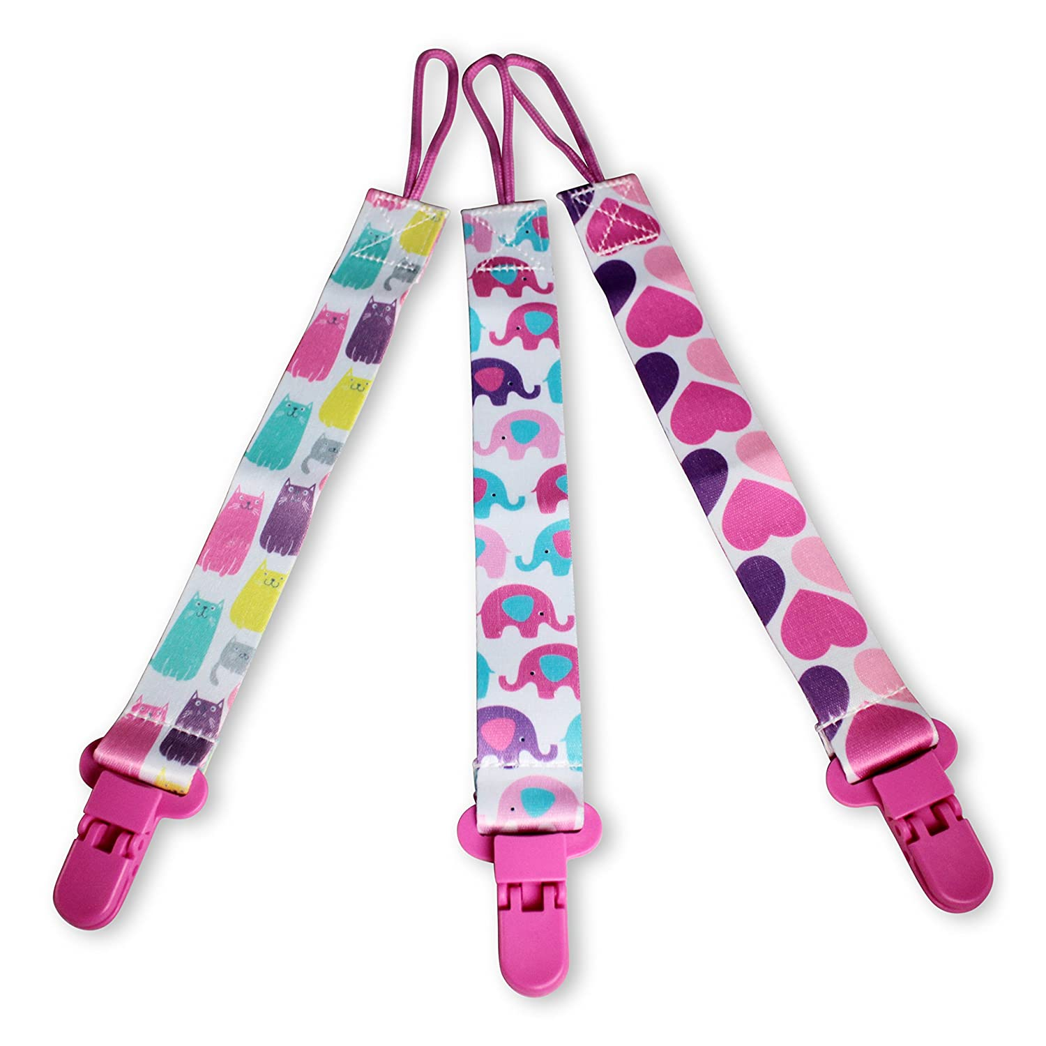 Dummy Clips by Amami 3 Pack Dummy Holder for Boys and Girls BPA-Free Fits All Soothers & Pacifiers Colourful Design Washable Great Baby Gift Amafranca