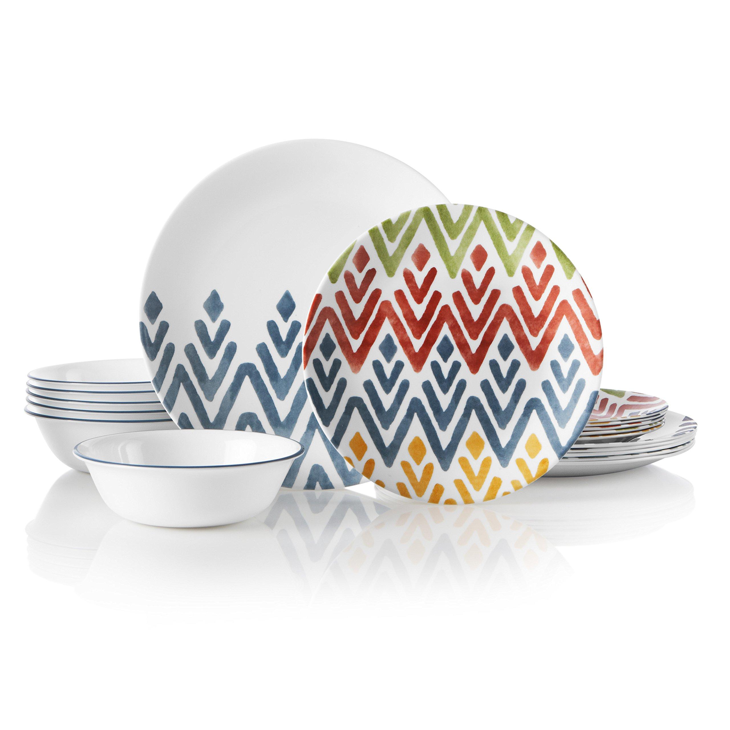 Corelle 18-Piece Service for 6, Chip Resistant, Zamba Dinnerware Set,