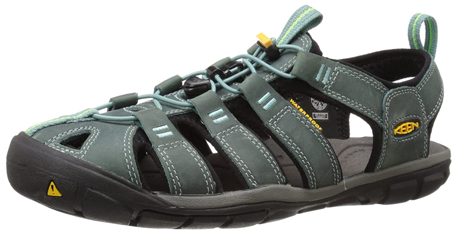 KEEN Women's Clearwater CNX Leather Sandal B00ZG2ZZD4 6.5 B(M) US|Mineral Blue/Yellow