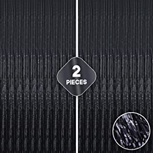 Xtra Large, Black Fringe Foil Curtain - 3.2x10 Feet | Pack of 2 | Shimmer Metallic Backdrop for Black Party Decor | Shinny Black Tinsel Streamers for Bachelorette, New Year Eve, Prom Night, Graduation
