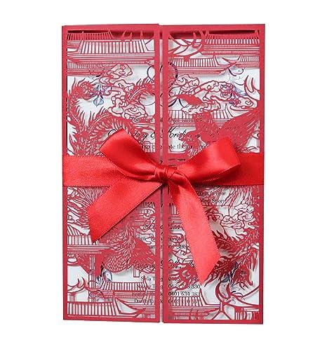 Ninesh 50pcs Wedding Dragon Y Phoenix Chengxiang Invitación