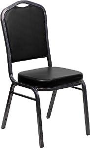 Flash Furniture HERCULES Series Crown Back Stacking Banquet Chair in Black Vinyl - Silver Vein Frame