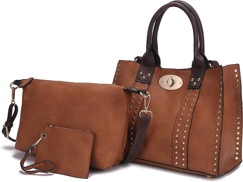 Mia K Collection 3-PC Set, Studded Tote Bag for Women, Pouch Handbag, Wristlet Purse, Crossbody Shoulder Strap PU Leather