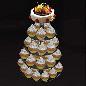5 Tier Crystal Acrylic Round Cupcake Stand Wedding Birthday Display Cake Tower By PENSON CO