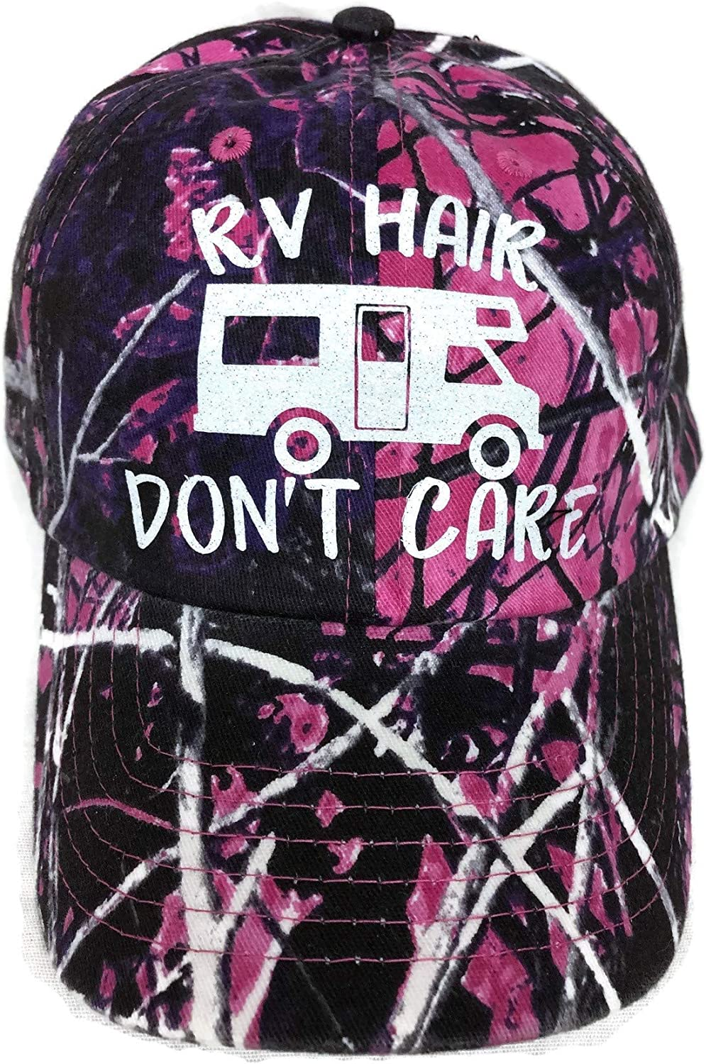 White Glitter RV Hair Don't Care Purple/Pink Camo Baseball Cap Hat Camping