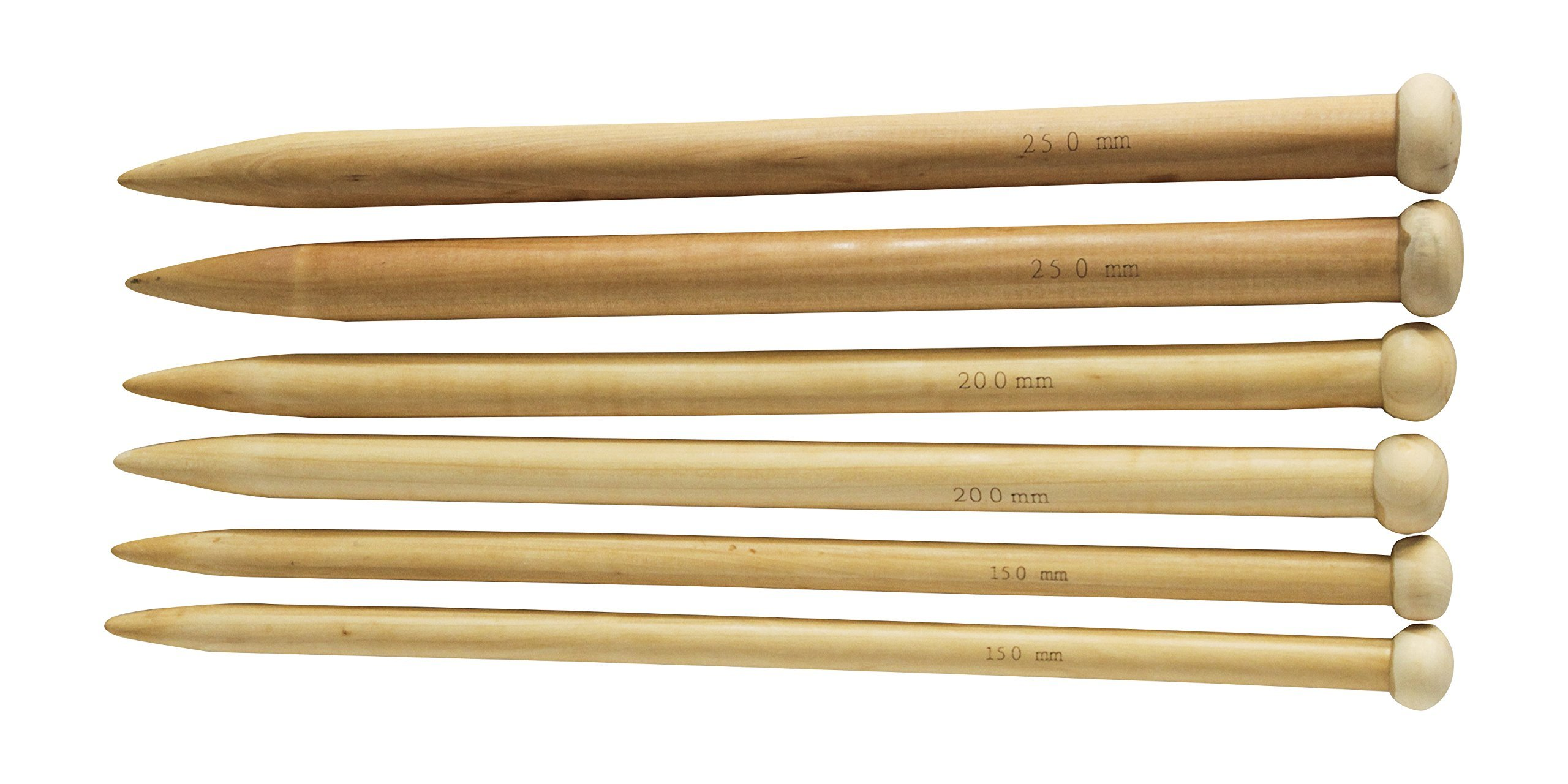KnitPal 16'' Jumbo Straight Wooden Knitting Needles Set of 3 Beginner's Ebook I 4 Handmade Label | Large US Sizes 19, 35, and 50 | Oak Wood Thick Knit Needle Kit for Huge Chunky Yarn by KnitPal (Image #2)