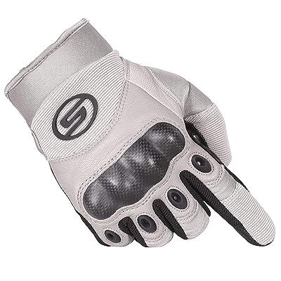 Seibertron Carbon Fiber Hard Knuckle Sheepskin Palm Motorcycle Gloves Khaki S: Automotive