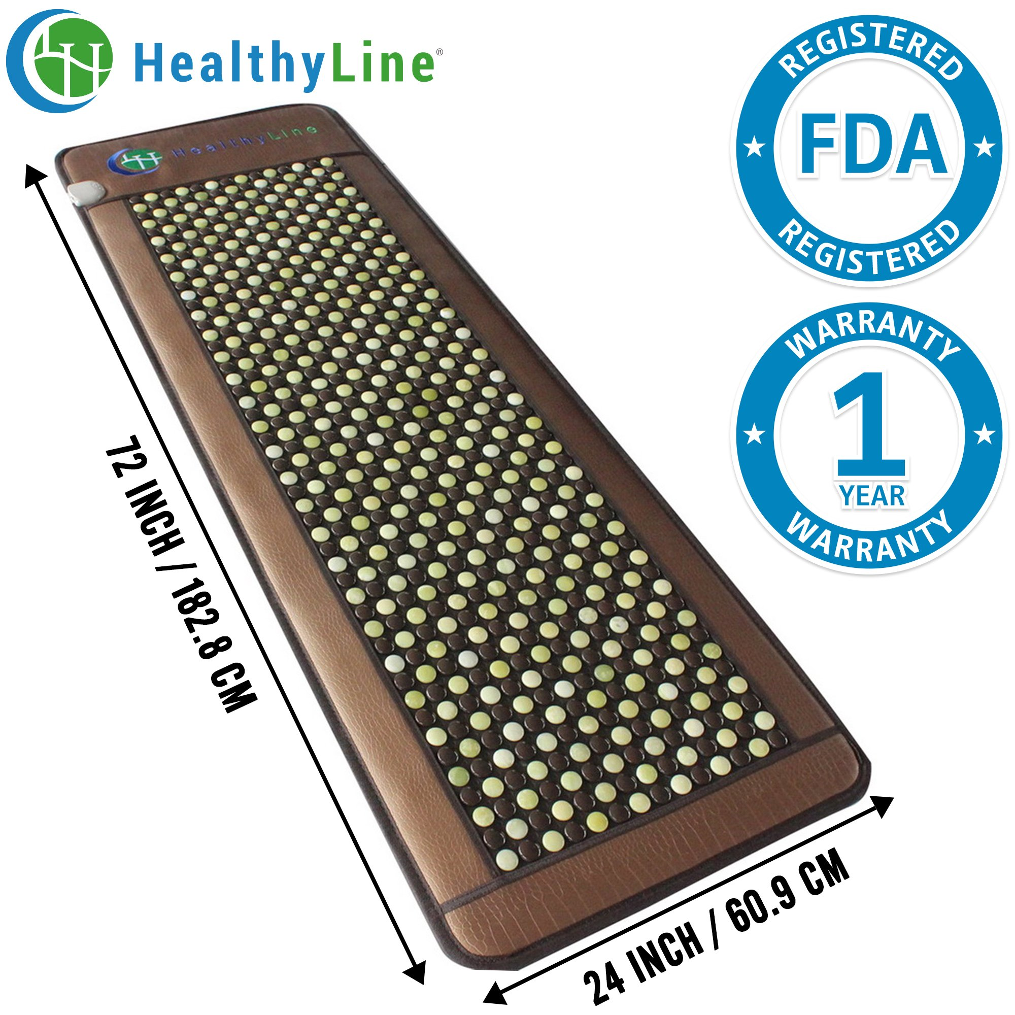 HealthyLine Far Infrared Heating Mat - Promotes Pain & Stress Relief | Natural Jade & Tourmaline 72''x24'' |​​​​​ Negative Ions (Large & Firm) | FDA