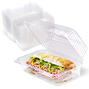 """[25 Pack] Clear Hinged Plastic Containers - 9x5x3"""" Single Compartment Clamshell Food Containers for Cake Roll, Cookie, Sandwich, and Baked Goods - Disposable Plastic Togo Boxes with Lids for Bakery"""