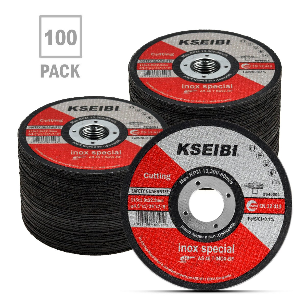 KSEIBI 646004 Metal Stainless Steel Cutting Disc 4-1/2''x.040''x7/8'' Cut-Off Wheel T41 (100 Pack)