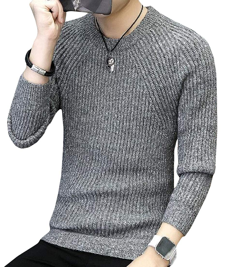 Hajotrawa Men Stylish Long Sleeve Pullover Crew Neck Ribbed Knit Sweaters