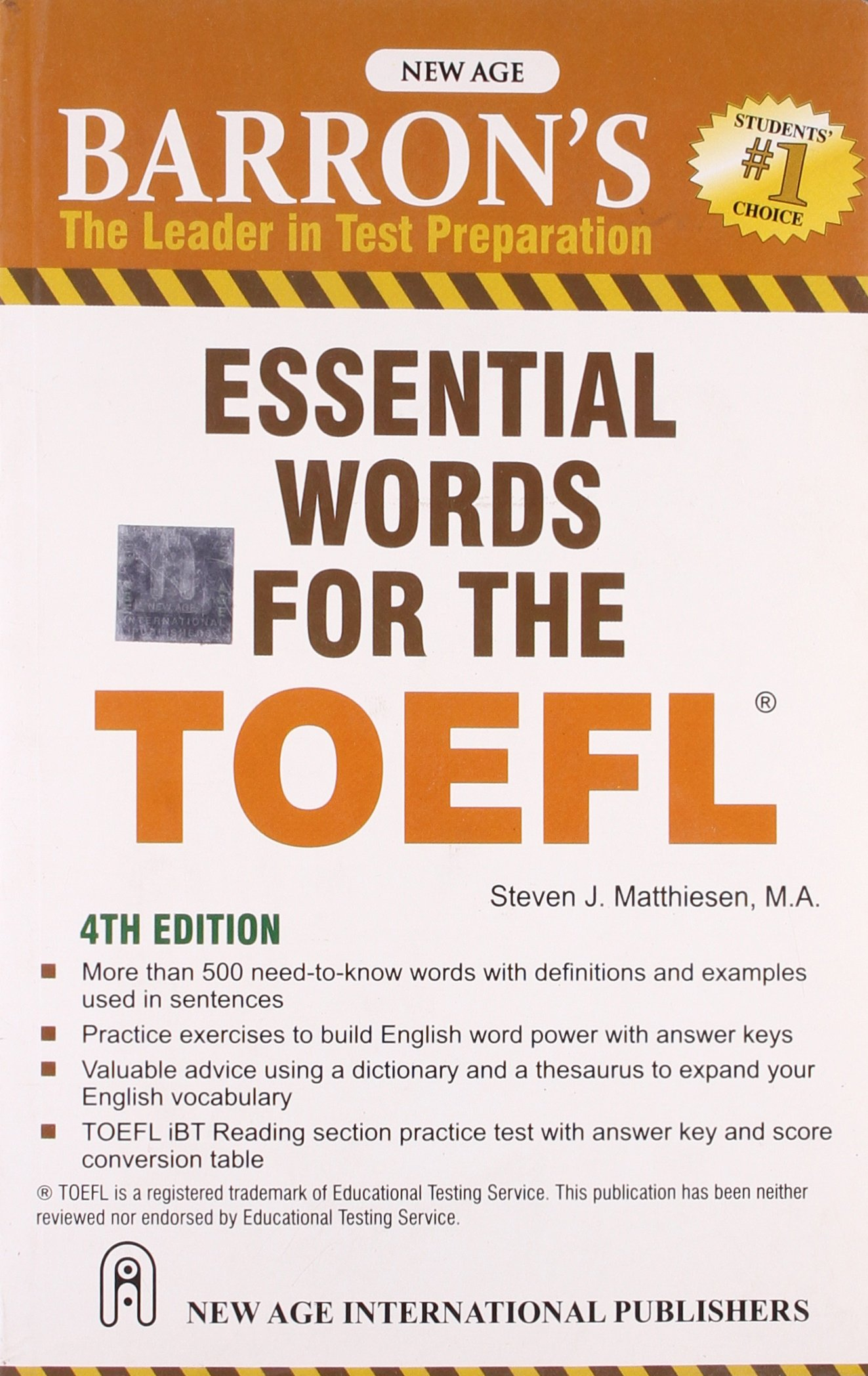 Barron`s Essential Words for the TOEFL
