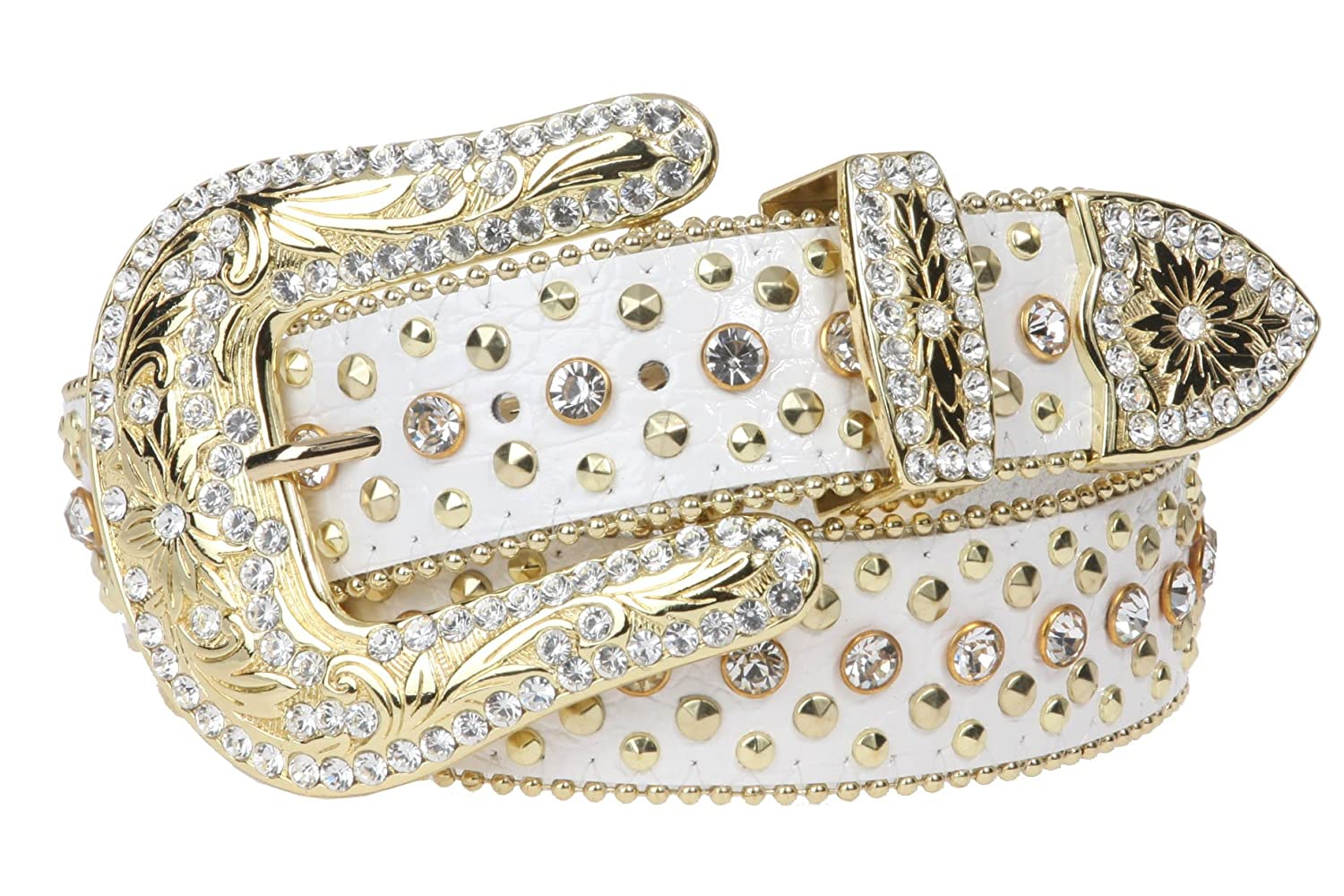 Snap On Western Cowgirl Alligator Rhinestone Studded Leather Belt Size: S/M - 34 Color: Brown K6005:011G:A008